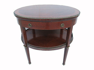Beautiful Luis XVI Style Wooden Oval Table with Drawer - 10880