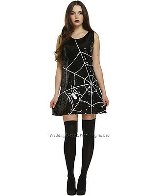 8-12 Sequin Spider Web Black Widow Costume Ladies Halloween Fancy Dress Outfit