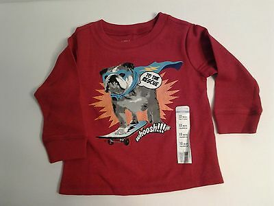 Wonder Kids Boys Long Sleeve Tee Shirt Red With Dog To The Rescue NWT Size 12M