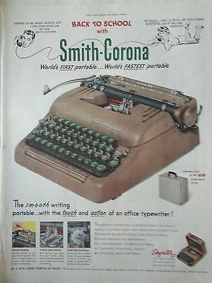 1951 Vintage Smith Corona Typewriter Skywriter Color Silver Birch Case Print Ad