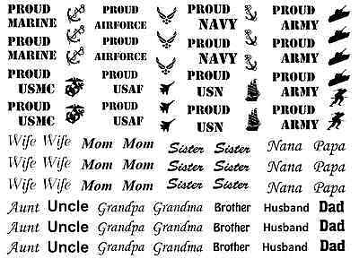 Black 15CC497 Fused Glass Decals Military Proud Family 1 to 1-1//4