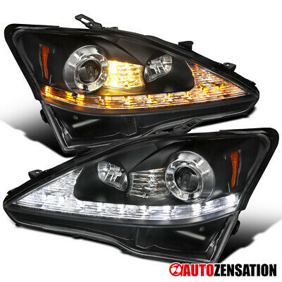 For 2006-2009 Lexus IS250 IS350 SMD LED Signal Black Projector Headlights