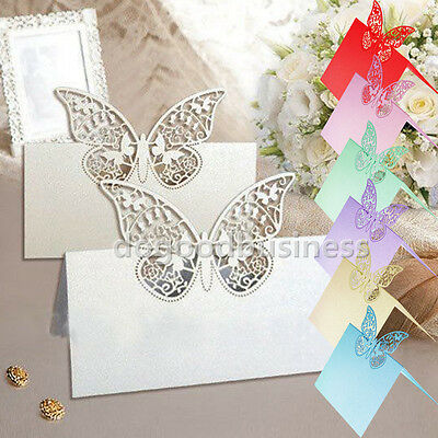 18Color Butterfly Laser Cut Wedding Party Table Favor Decoration Name Place Card