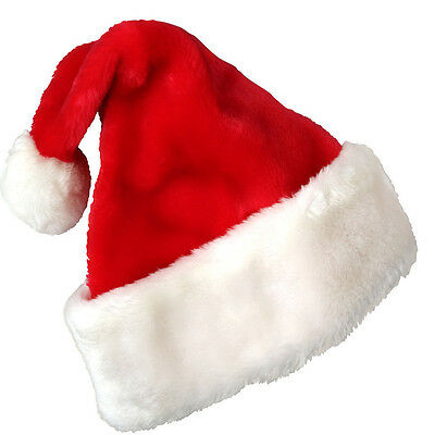 2017 Christmas Party Soft Velvet Santa Hat Red White Cap For Santa Claus Costume