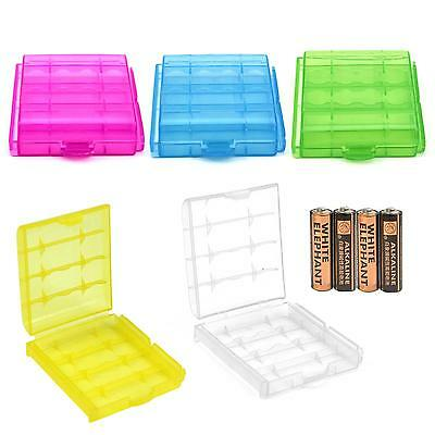 2Pcs Hard Plastic Protective Holder Case Cover AA/AAA Batteries Storage Box