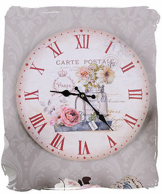 Wall Clock Roses Romantic Vintage Watch Shabby Chic Kitchen Clock Carte Postale