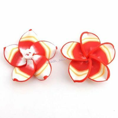20pcs Fancy Red&White Charms FIMO Polymer Clay Flower Beads Jewellery Findings C