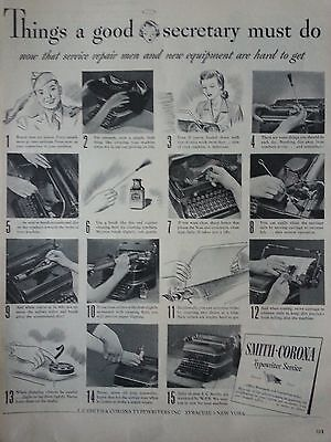 1944 Vintage Smith Corona Typewriter Service Secretary Office Manager Print Ad