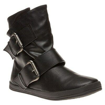 New Womens Blowfish Black Coldem Synthetic Boots Ankle Buckle