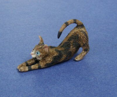 Miniature Dollhouse Brown Stretching Cat 1:12 Scale New