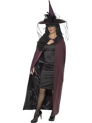 Witches Reversible Purple & Black Cape Halloween Costume Fancy Dress Accessory
