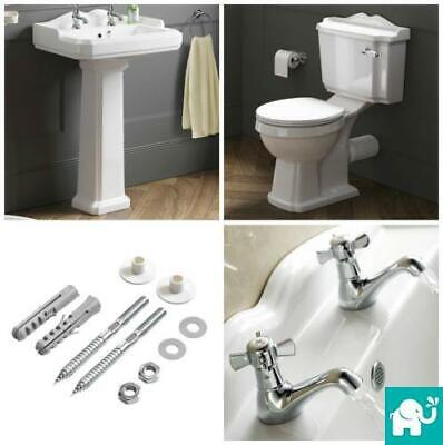 Traditional Victorian Basin Sink and Close Coupled Toilet Toilet Set Suite