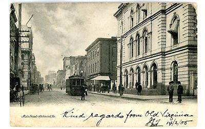 Richmond VA - TROLLEY ON MAIN STREET - Postcard