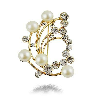 Women Girl Lady Jewelry Corsage Pearl Diamond Flower Party Cloth Pin Brooch Gift