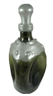 25cm Arts & Crafts green liqueur schnapps decanter clad with hammered pewter