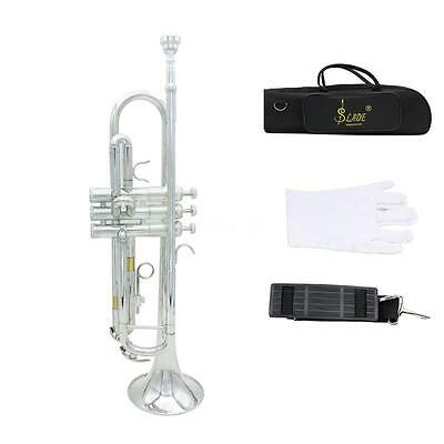Professional B Flat Silver Brass Trumpet with Case Band Beginner Student Band