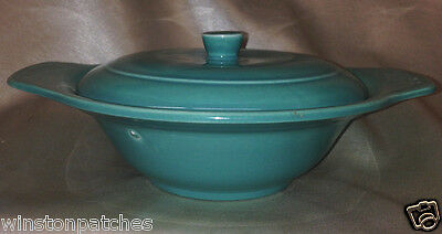 Vernon Kilns Usa Early California Turquoise Lugged Chowder Bowl & Lid 12 Oz