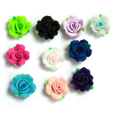 18pcs Assorted 6 Color Rose Flower With Leaf FIMO Polymer Clay Spacer Beads C