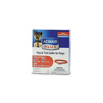 "Adams Plus Red Dog & Puppy Collar Small 15"" 7 Month Flea Tick. Free Ship To Usa"