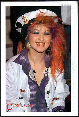 1985 Cyndi Lauper in sailor cap JAPAN mag photo pinup mini poster /clipping c09m