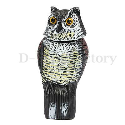 Large Realistic Owl Decoy&Rotating Head Bird Pigeon Crow Scarer Scarecrow New