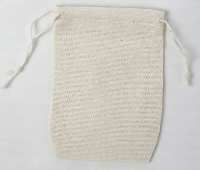 25 Mini Cotton Muslin Drawstring Bags Made In USA