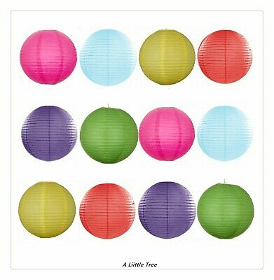 Mixed New Round Paper Lanterns (Light Blue+Red+Yellow+Green+Purple+Hot Pink)