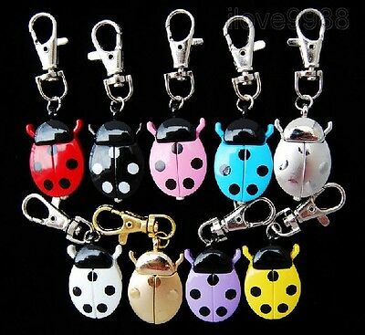 Wholesale 10 pcs multi-colour Ladybug style Key Ring quartz Pocket Watches ZF10
