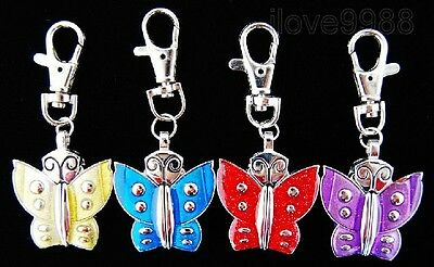 Wholesale 10 pcs Butterfly Design Key Ring Pocket Watches gift(4 colours ) USF9
