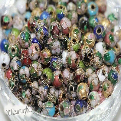 20/50Pcs Cloisonne Flower Pattern DIY Craft Mixed Round Spacer Beads 6/8/10/14MM