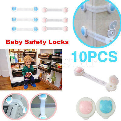 10× Adhesive Baby Child Kids Safety Lock For Cabinet Door Drawer Cupboard Fridge