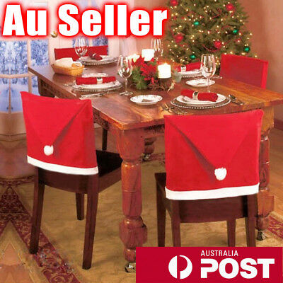 6x Christmas Chair Covers Dinner Table Santa Hat Home Decorations Ornaments Gift