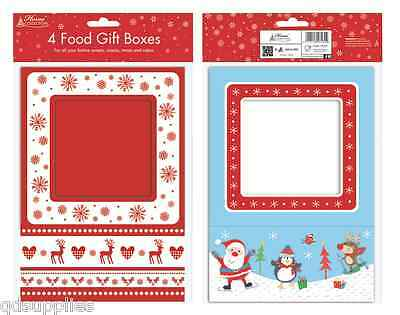 4 Christmas Food Presentation Gift Boxes Box For Cupcakes Muffin Cake Party HCBX