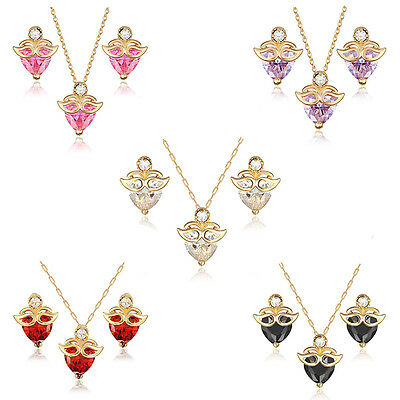 18K Gold Plated Heart Cut CZ W/ Mask Earrings Pendant Necklace Kid Jewelry Sets