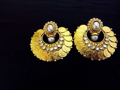 Indian Fashion Jewelry bollywood ethnic gold traditional coin temple Earring set