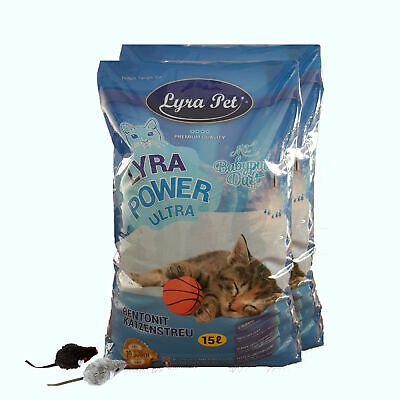 30 Liter Lyra Pet Cats Power ULTRA excellent Katzenstreu Babypuderduft  +2 Mäuse