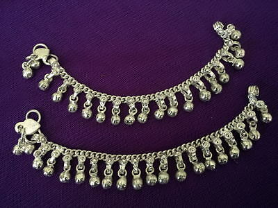 """child silver chain charm bells anklet ankle bracelet set India foot jewelry 7"""""""