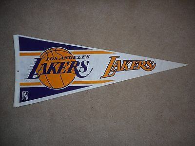 "Vintage Original Los Angeles Lakers Pennant Full Size 30"" & Free Holder!"