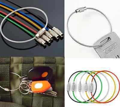 5XSport Wire Carabiner KEY CHAIN Cable Stainless Steel RING Screw Locking New CH