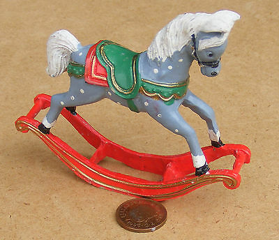 1:12th Scale Dappled Rocking Horse Dolls House Miniature Nursery Accessory Toy