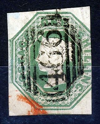 GB Queen Victoria 1847 One Shilling Green Embossed SG 55 (Specialised H1[2]) VFU
