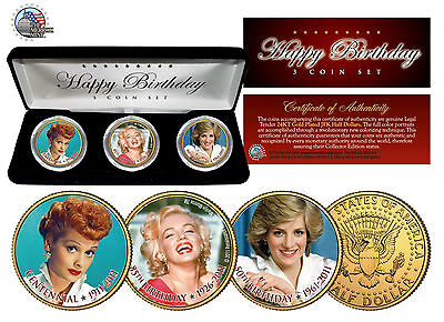 Happy Birthday MARILYN MONROE Lucy PRINCESS DIANA JFK Half Dollars 3-Coin US Set