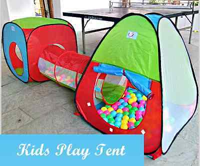 3 in 1 Kids Toddler Tunnel Pop Up Play Tent Indoor Outdoor Cubby Playhouse