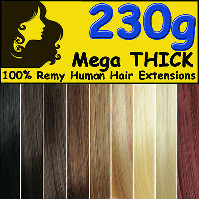 Real Clip in Remy Human Hair Extensions Mega THICK Black Brown Blonde Full Head