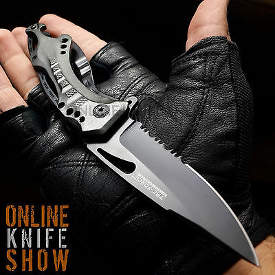 TACTICAL GREY SPRING ASSISTED BOTTLE OPEN FOLDING BLADE Pocket Knife Tac-Force