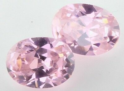 PAIR OF 8x6mm OVAL-FACET PINK-ICE CUBIC ZIRCONIA GEMSTONES