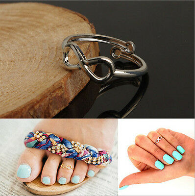 2PC Celebrity Women Simple Retro Adjustable Ring Foot Beach Jewelry Fashion Gift