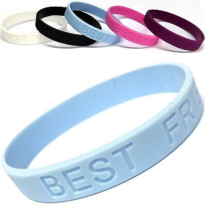 Pack Of Five Fashion Bestfriend Silicone Wristband Cuff Bracelet