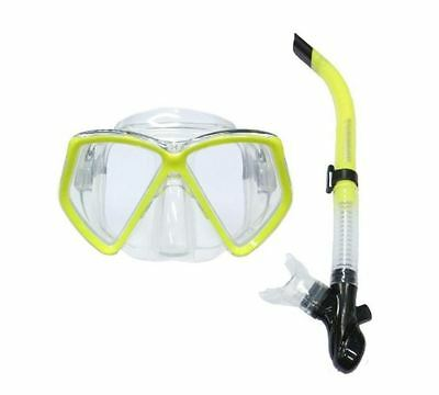 TYPHOON PRO Adult Silicone Mask & Snorkel Set Yellow - Snorkelling Scuba Dive