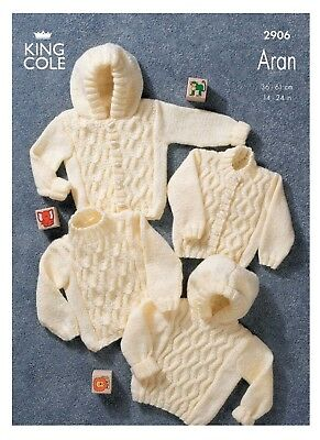 King Cole Aran Knitting Pattern Baby Cable Knit Long Sleeve Sweater Jacket 2906
